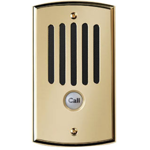 Weatherproof call station fits a single-gang deep wall box. Plated die-cast zinc cover plate mounts flush to exterior wall. Internal microphone with automatic gain control. Built-in amplifier and speaker. 110 punch-down connector for CAT-5 cable. Internal
