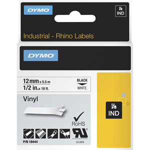 "Label, Vinyl, Industrial, 1/2""x18', White"