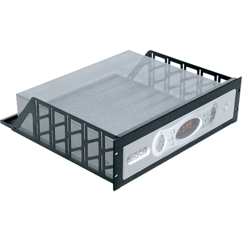 Middle Atlantic RSH4A5R Five Space Anodized Black Brushed Custom Rack Shelf - 15.5 Deep