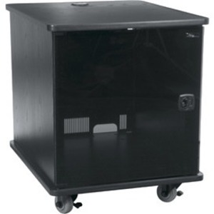 MFR Series Mobile Furniture Rack 12 Space 27in. D Melamine Plexi Door 3in. Casters Grained Ebony Ash