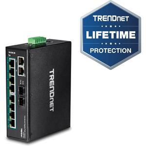 TRENDnet's 10-Port Industrial Gigabit PoE+ DIN-Rail Switch, model TI-PG102, has eight gigabit PoE+ ports with a 240 W PoE power budget, plus two gigabit RJ-45 / SFP shared ports.