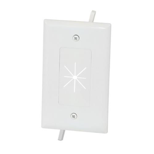 Data Comm Electronics Inc 45 0014 Wh Datacomm Cable Plate With Flexible Opening 1 Gang White Adi