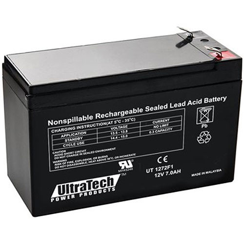 UltraTech IM-1272F1 12 Volt 7.0 Ah Sealed Lead Acid Battery - F1 Terminal (Replaces IM-1270)