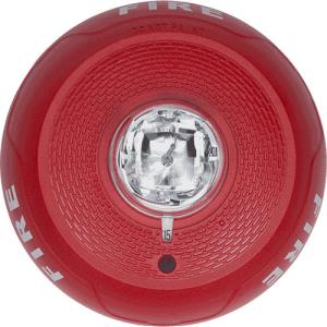 """System Sensor SCRL L-Series, Red, Ceiling-Mountable, Clear Lens, Strobe Marked """"Fire"""" With Selectable Strobe Settings of 15, 30, 75, 95, 115, 150, and 177 CD"""