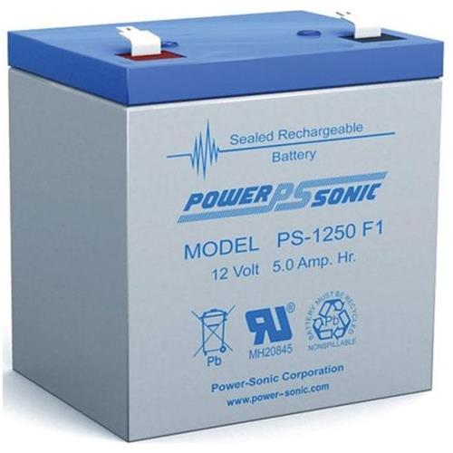 Power Sonic PS-1250F1 12V 5 Ah Rechargeable Sealed Lead Acid Battery with F1 Terminal